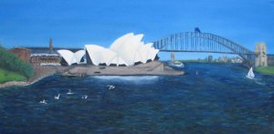 "The finished painting without frame of the Sydney Harbour painting I ""didn't finish"" in 2007"