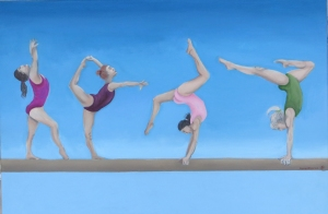 The Gymnasts-30x20inches acrylic on canvas - 5th birthday present for my niece